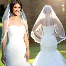 Women Wedding Dress Veil Lace Layers Tulle Ribbon Edge Bridal Veils Accessories