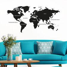 Wandtattoo Weltkarte mit Kontinente und Ozeane KLEBEHELD®