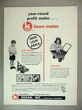 Kusan Toys 2-Pg PRINT AD - 1965 ~ toy lawn mower, lawn cart, klickety-klack