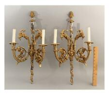 Pr Empire Style Figural Goats Birds Silverplate & Bronze Candelabra Wall Sconces