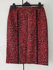 Anne Klein Rojo Negro Oro Leopard Print falda UK8 US4 EU38