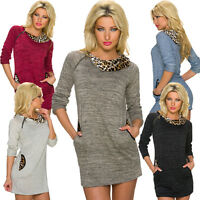 Damen Mini Kleid Long Pullover Pulli Leoparden Muster S 34 36 38 Party Club Mode