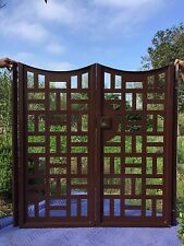 Contemporary Urban Metal Gate Custom Dual Entry Ornamental Wrought Iron Garden
