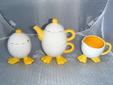 Ganz Teapot Set Cracked Egg Design, Webbed Duck Feet Collectible New No Box