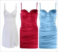 Women's Sexy Adjustable Pleated Spaghetti Strap Backless Club Bodycon Mini Dress