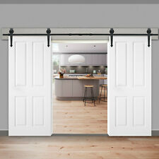 12FT Steel Sliding Barn Door Rollers Double Wood Closet Hardware Track Kit