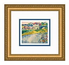 "Pretty 1958 VLAMINCK SIGNED Limited Lithograph ""The Bridge at Chatou"" FRAMED COA"