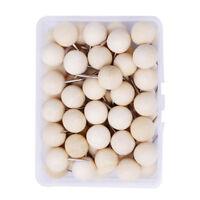 60pcs Wood Push Pins, Decorative Thumb Tacks with Box for Cork Board Photos