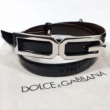 DOLCE & GABBANA WOMEN'S LOGO BUCKLE LEATHER BELT MADE IN ITALY IT-SIZE 42/75