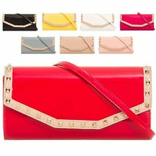 Ladies Faux Patent Studded Clutch Bag Envelope Evening Bag Handbag Purse KL875