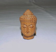 Beautiful Small Carved Wooden Buddha Head Figurine