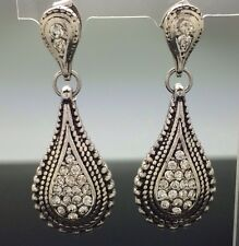 Antique Tear Drop Crystal Dangle Earring Silver 4.3cm Wedding Gray Long Pewter