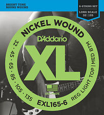 D'Addario EXL165-6 NICKEL BASS STRINGS, MEDIUM/LIGHT GAUGE 6's   32-135