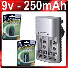 NEUF Chargeur Batterie Secteur Lloytron & 2 x 9V 250mAh PP3 250 mAh Batteries Ni-MH