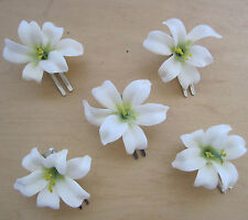 "5 Piece Lot Small 2"" Cream White Lily Silk Flower Hair Clip,Wedding,Dance, Prom"