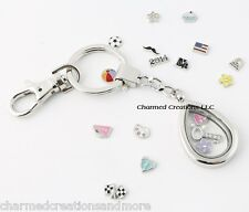 Plain Teardrop Floating Charm Memory Locket Key Chain With Lobster Dog Clasp