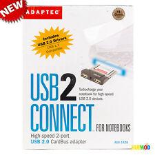 Adaptec Aua-1420A 2-Port Usb 2.0 CardBus Adapter Laptop Notebook Card Retail Box