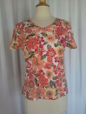 SIZE M - $34.00 STUDIO WORKS Rounded V-Neck Floral Orange Pink Yellow Top