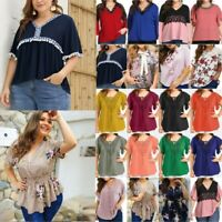 Plus Size Women Summer Short Sleeve T-Shirt Blouse Casual Loose V-Neck Tee Tops