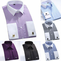 Striped Collar Cuff Shirts French Dress Casual Men's Luxury Business CS340 White