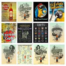 COCKTAILS BEER DRINKS Vintage Metal Signs A4 5 Kitchen Cave Garage Pub Bar Retro