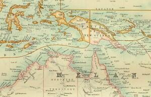1895 Mappa Antica Oceania Australia Tasmania Fiji Isole Polinesia Nuova Zelanda