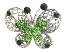 Green Silver Crystal Butterfly Finger Ring Adjustable Women Girls Dress Jewelry