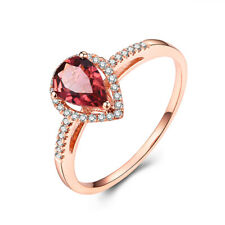 14K Rose Gold Wedding Party Ring 0.8ct Pear Tourmaline &Natural Diamond Jewelry