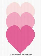 Crochet Pattern/Patterns - LOVE, LOVE, LOVE HEARTS Graph/CHART Afghan Pattern