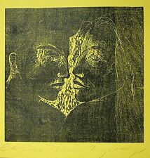 ANGELA HAMPEL - Zwei Frauen - Holzschnitt um 1990