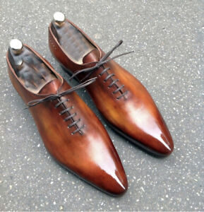 Handmade Men's Formal Shoes, Pointed Toe Two Tone Leather Lace Up Formal Shoes
