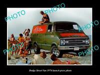 OLD LARGE HISTORIC PHOTO OF DODGE STREET VAN 1976 LAUNCH PRESS PHOTO 1