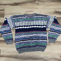 Vintage Concrete Mix Geometric 3D Texture Sweater Hip-Hop Biggie Cosby Men's M