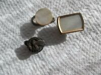 VTG (3) Cufflinks Silver Eagle & 2 Mother of Pearl unmarked Found in Junk Drawer