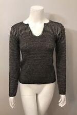 Armani Collezioni Black Gray Ribbed Striped Sweater Size 4