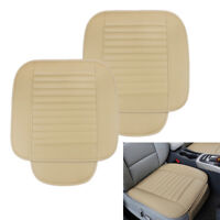 2PCS Car Seat Cover Breathable PU Leather Pad Mat for Auto Chair Cushion Beige