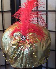RED GOLD Ali Baba Aladdin Genie Swami Turban Psychic Costume Hat Head Piece-NEW