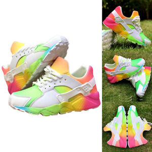 Womens Lace Up Trainers Ladies Flat Comfy Fitness Gym Running Sports Shoes Size✅