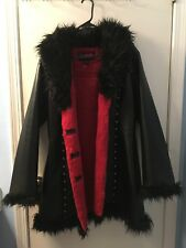GOTH TRIPP NYC Daang Goodman Coat -Long Faux Leather Red Black XL Extra Large