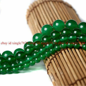 Natural 6/8/10/12/14mm Smooth Green Emerald Round Gemstone Loose Beads 15'' AAA
