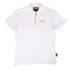 Versace Jeans Couture White 100% Cotton Short Sleeve Polo Zip Shirt-48