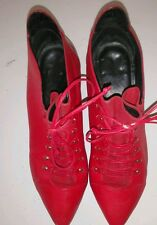"Red Leather Vintage Granny Victorian Ankle Boots 1.75"" Heel  Women Sz 7 Brazil"