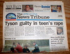 1992 hdlne newspaper Boxer MIKE TYSON is FOUND GUILTY of the RAPE of a TEENAGER