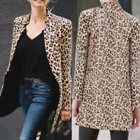 Women's Ladies Leopard Print Jacket Coat Slim Blazer Suit Outwear Cardigan Coat