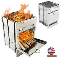Folded Wood Oven Burner BBQ Backyard Patio Stainless Steel Barbecue Outdoor Cook