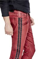 G By Guess Men's Sabain Striped Sides Moto Skinny Jeans Coated Red Sea Size 32