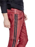 G By Guess Men's Sabain Striped Sides Moto Skinny Jeans Coated Red Sea Size 36