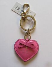 kate spade heart key ring/fob- rouge pink- puffed heart - bow - gold ring