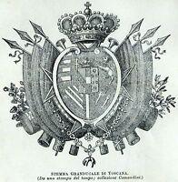 Stemma del Granducato di Toscana. Firenze. Stampa Antica + Passepartout. 1901