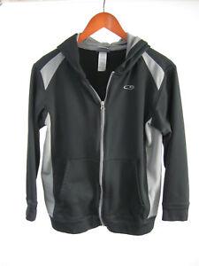 Champion Womens Smooth Black Gray Hoodie L/S Track Jacket Sz L (12/14)